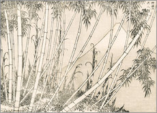 Vinilo para la pared  Bamboo and Mount Fuji - Katsushika Hokusai