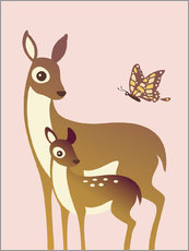 Vinilo para la pared  Mom And Baby Deer With Butterfly - Ashley Verkamp