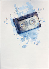 Vinilo para la pared  Music tape with flowers and watercolour wash - Sybille Sterk