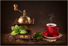 Vinilo para la pared  Coffee mill with beans and green leaves and a cup of coffee - Elena Schweitzer