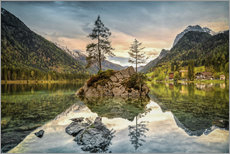 Cuadro de plexi-alu  Hintersee at an evening in spring - Sabine Wagner