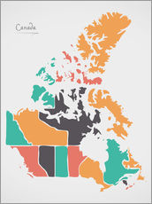 Vinilo para la pared  Canada map modern abstract with round shapes - Ingo Menhard