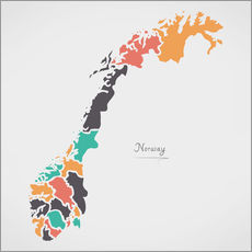 Vinilo para la pared  Norway map modern abstract with round shapes - Ingo Menhard