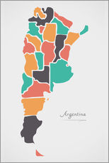 Vinilo para la pared  Argentina map modern abstract with round shapes - Ingo Menhard