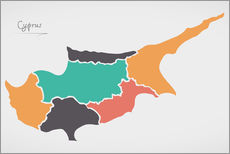 Vinilo para la pared Cyprus map modern abstract with round shapes