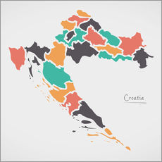 Cuadro de plexi-alu  Croatia map modern abstract with round shapes - Ingo Menhard