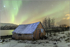Vinilo para la pared  Aurora Borealis on typical Rorbu, Svensby, Norway - Roberto Sysa Moiola