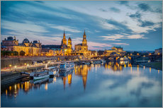 Vinilo para la pared  Old Town Dresden at night - Sabine Wagner