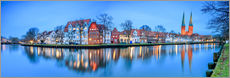 Vinilo para la pared  Panoramic of Lubeck reflected in river Trave, Germany - Roberto Sysa Moiola