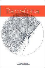 Vinilo para la pared  Mapa de Barcelona en blanco y negro - campus graphics