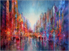 Vinilo para la pared  city on the river 2 - Annette Schmucker