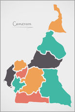 Vinilo para la pared Cameroon map modern abstract with round shapes