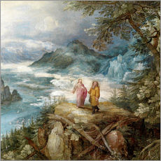 Cuadro de plexi-alu  Wide mountain landscape with the temptation of Christ - Jan Brueghel d.Ä.