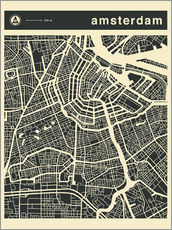 Cuadro de plexi-alu  AMSTERDAM CITY MAP - Jazzberry Blue