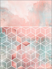 Vinilo para la pared  Rose Clouds And Cubes - Elisabeth Fredriksson