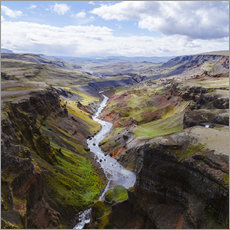 Vinilo para la pared Aerial view of river and canyon, Iceland