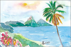 Cuadro de plexi-alu  St Lucia Caribbean Dreams With Sunset and Pitons Peaks - M. Bleichner