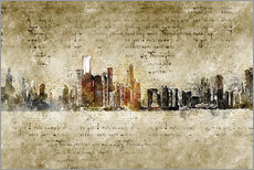 Vinilo para la pared  Chicago skyline in modern abstract vintage look - Michael artefacti