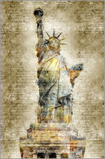 Vinilo para la pared  Statue of liberty New York in modern abstract vintage look - Michael artefacti