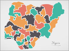 Vinilo para la pared Nigeria map modern abstract with round shapes