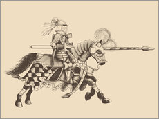 Vinilo para la pared  Knight with armor and horse