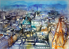 Cuadro de plexi-alu  Vienna View from St. Stephen's Cathedral - Johann Pickl