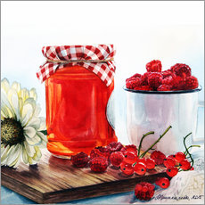 Vinilo para la pared Raspberry jam watercolor painting
