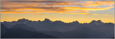 Vinilo para la pared  The Alps at sunset, ultra wide panoramic view - Fabio Lamanna