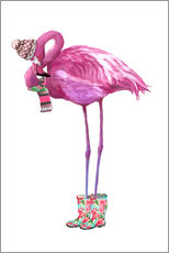 Vinilo para la pared  Pink flamingo with rubber boots - Kidz Collection