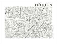 Vinilo para la pared  Mapa de la ciudad de munich - 44spaces