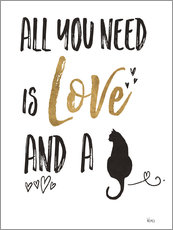 Vinilo para la pared  All you need is love and a cat (inglés) - Veronique Charron