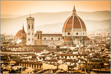 Vinilo para la pared Cityscape with Cathedral and Brunelleschi Dome, Florence