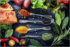 Vinilo para la pared  Delicious portion of fresh salmon fillet with aromatic herbs, spices and vegetables - healthy food, - TPP