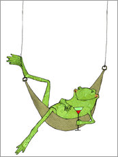 Vinilo para la pared  Frog lying in hammock with drink glass
