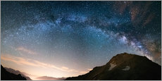 Cuadro de plexi-alu  Milky Way arch and starry sky on the Alps. Panoramic view - Fabio Lamanna