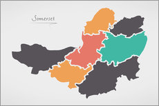 Vinilo para la pared Somerset county map modern abstract with round shapes