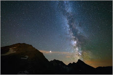Cuadro de plexi-alu  Night sky, Milky way galaxy stars over the Alps, Mars and Jupiter planet, snowcapped mountain - Fabio Lamanna