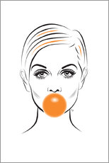 Cuadro de metacrilato  Twiggy con chicle - Martina illustration