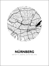 Cuadro de madera  City map of Nuremberg - 44spaces