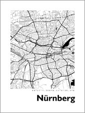 Cuadro de aluminio  City map of Nuremberg - 44spaces