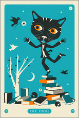 Lienzo  THE FOOL TAROT CARD CAT - Jazzberry Blue