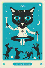 Lienzo  THE MAGICIAN TAROT CARD CAT - Jazzberry Blue