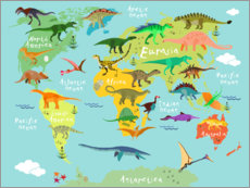 Vinilo para la pared  Mapa de dinosaurios (inglés) - Kidz Collection