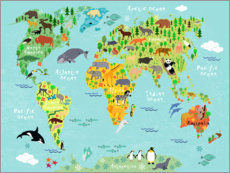 Cuadro de aluminio  Mapa de animales (inglés) - Kidz Collection