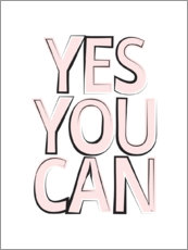 Cuadro de madera  Yes You Can - Si usted puede - Martina illustration