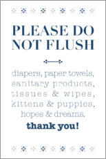 Cuadro de plexi-alu  Please do not flush - Typobox