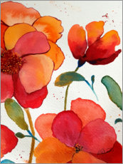 Póster  Pink And Orange Floral - Ruth Palmer