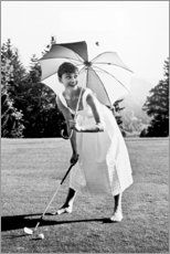 Cuadro de madera  Audrey Hepburn jugando al golf - Celebrity Collection