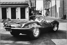 Cuadro de madera  Steve McQueen en un Jaguar - Celebrity Collection