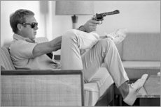 Cuadro de madera  Steve McQueen con revolver - Celebrity Collection